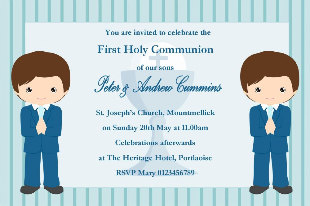 Personalised First Communion Invitations Boy Twins New